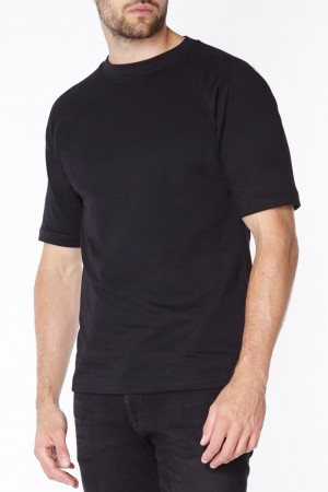 Anti-slash Black Short Sleeve T-Shirt lined with Dupont ™ Kevlar ® fibre