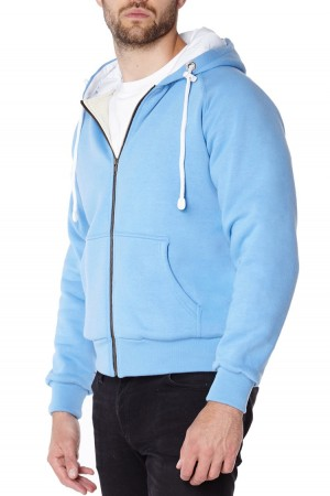 Blue anti-slash hooded top lined with Dupont ™ Kevlar ® fibre