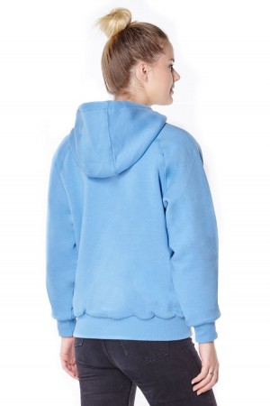 Womens blue anti-slash hooded top lined with Dupont ™ Kevlar ® fibre