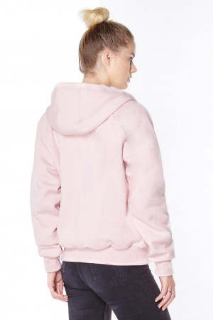 Ladies pink anti-slash hooded top lined with Dupont ™ Kevlar ® fibre