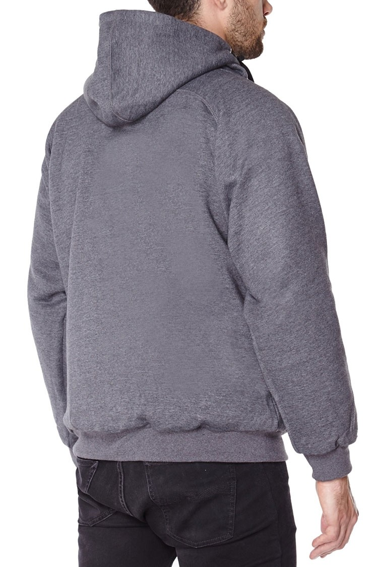 Grey anti-slash hooded top lined with Dupont ™ Kevlar ® fibre