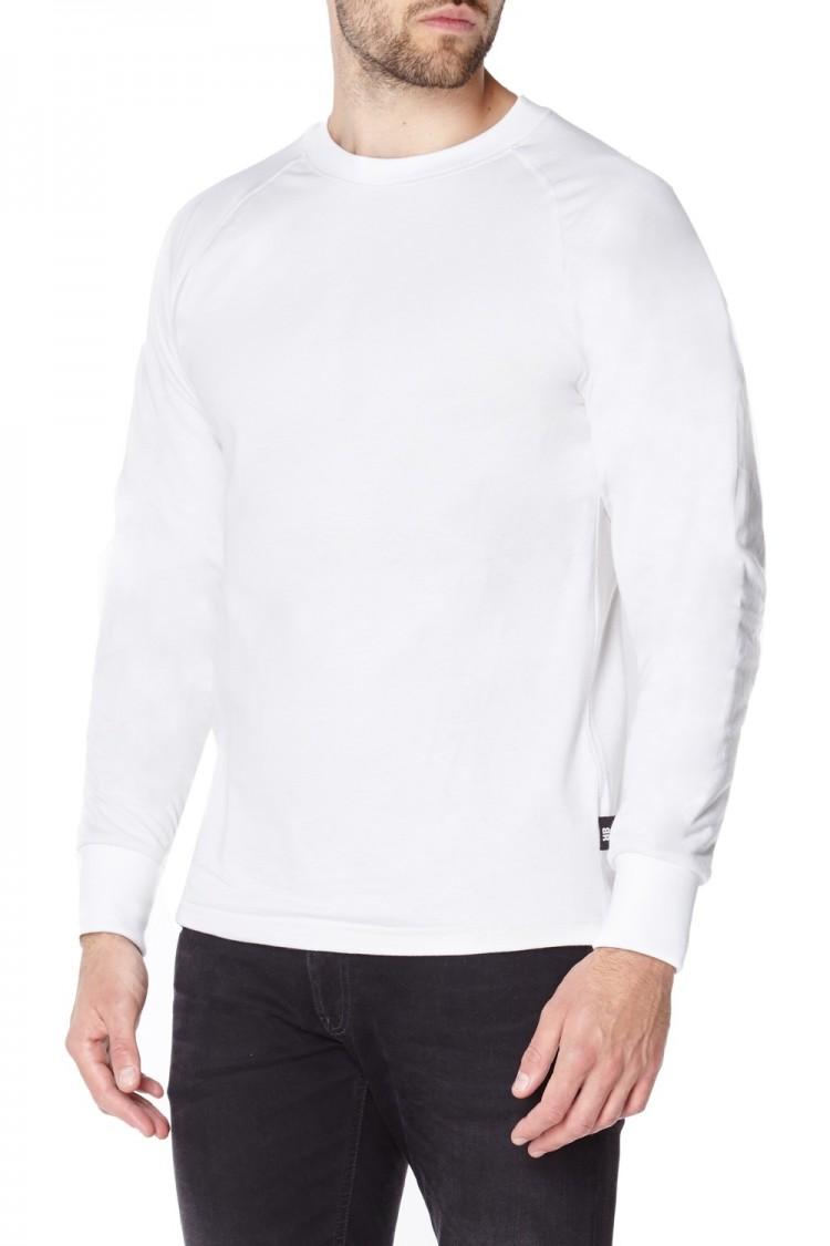 Anti-slash Long Sleeve T-Shirt in White with Cut Resistant Lining